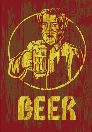 beers: vector color symbol of man with beer