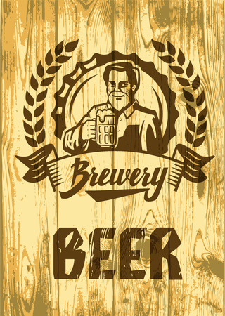 graphic icon: vector color symbol of man with beer on wood Illustration