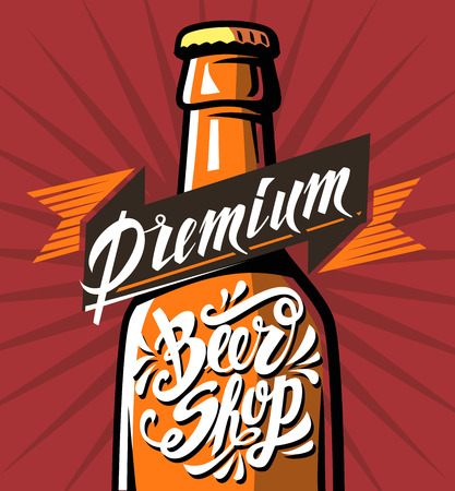 cheers: vector color poster of cold beer with lettering