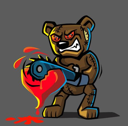 angry bear: angry bear toy Vector illustration on dark background Illustration