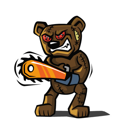angry teddy: angry bear toy Vector illustration on white background