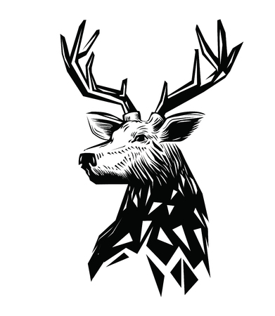 stylised: vector black Deer head icon on white background Illustration