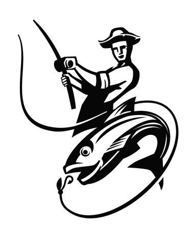 白の背景にベクトル黒漁師アイコン