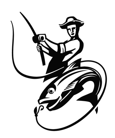 fisher man: vector black fisherman icon on white background Illustration