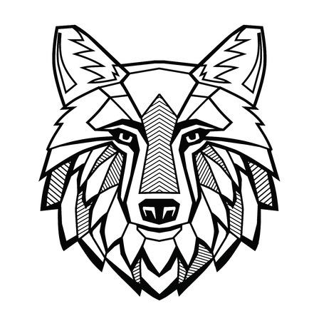 vector negro cabeza del lobo en el fondo blanco