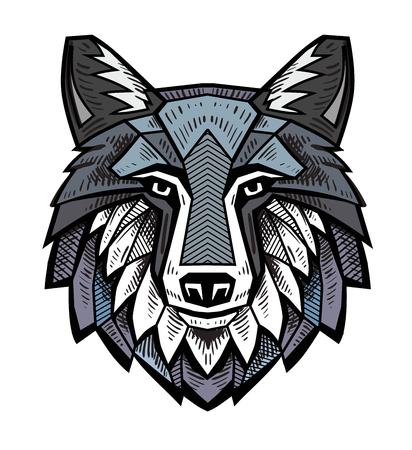 vector color Wolf head on white background