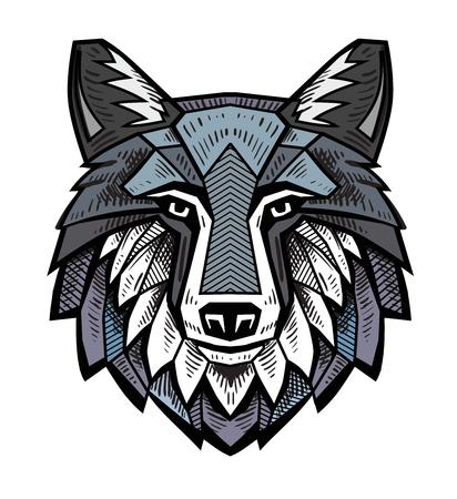 vector kleur Wolf hoofd op witte achtergrond Stock Illustratie