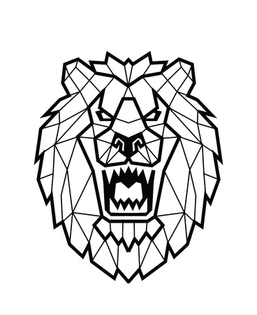 undomesticated: Lion head icon design in line style on white Illustration