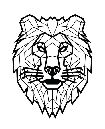 Lion head icon design in line style on white