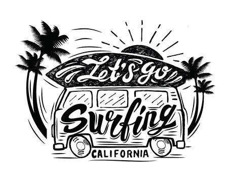 Vector black surfing badge. Beach surfer emblem