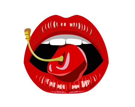 lust: vector womans red lips on white background Illustration