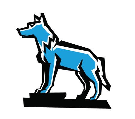 cruel zoo: vector black wolf emblem on white background