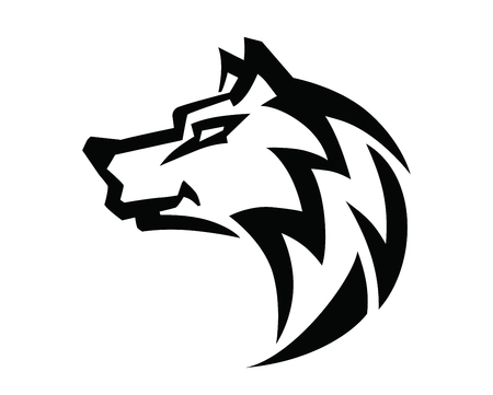 hairy arms: Wolf black head vector on white background