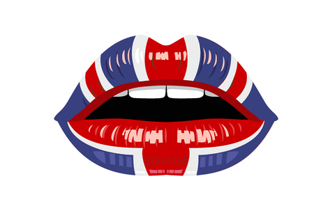 young woman: vector womans uk lips on white background