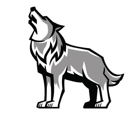 howl: vector black wolf howl emblem on white background Illustration