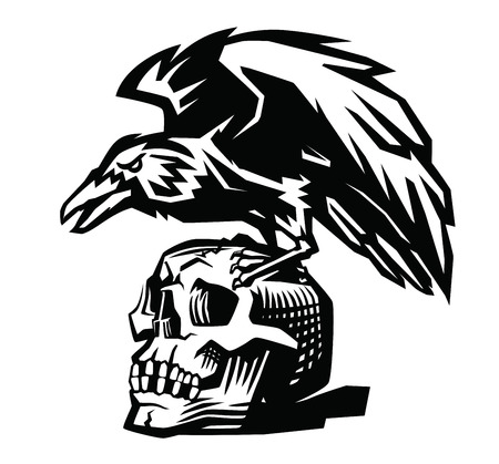 vector Raven and skull on white background Vectores
