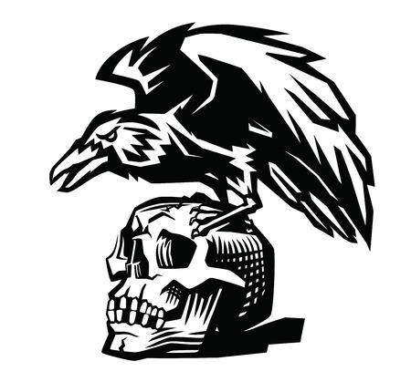 vector Raven and skull on white background Stock Illustratie