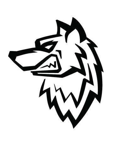 perro furioso: Lobo vector de la cabeza negro sobre fondo blanco