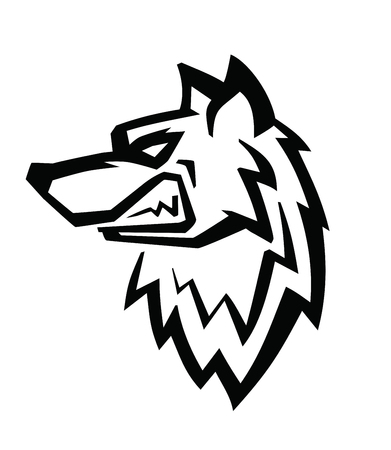 black and white: Wolf black head vector on white background