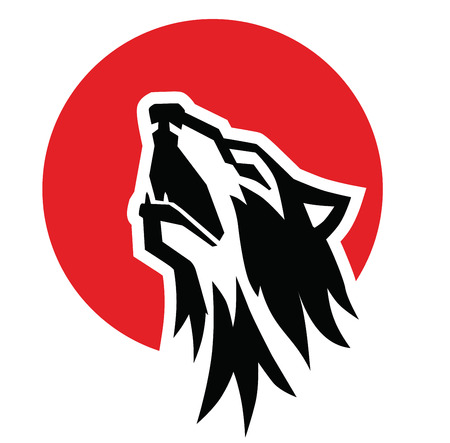 vector black wolf howl emblem on white background  イラスト・ベクター素材