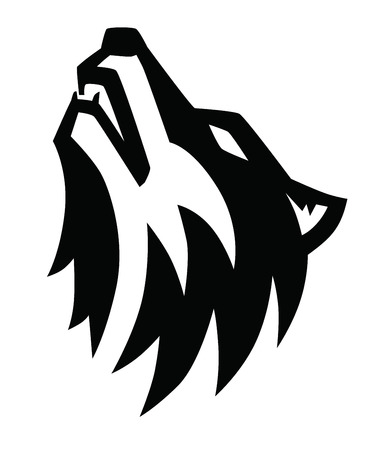 vector black wolf howl emblem on white background Çizim