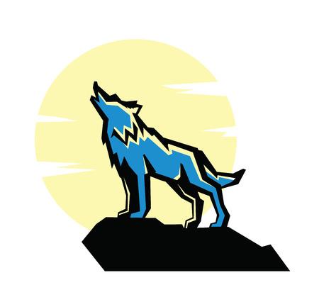 black wolf: vector black wolf howl emblem on white background Illustration