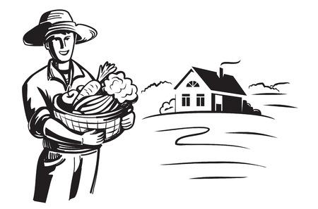 vector icono granjero negro sobre fondo blanco