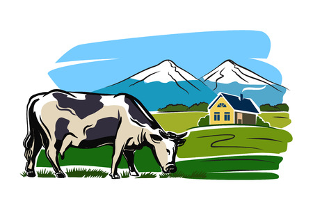 produces: vector color cow and farm on white background Illustration