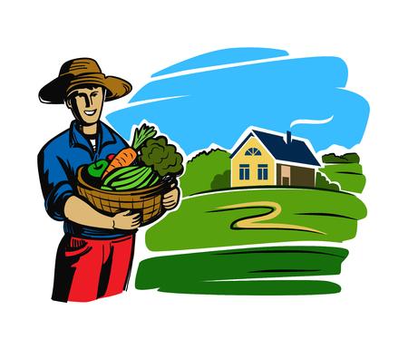 icone vettoriali colore coltivatore su sfondo bianco