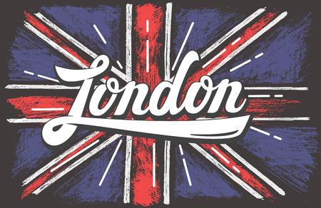 inglese flag: mano vettore colore disegnato UK bandiera sporca Vettoriali