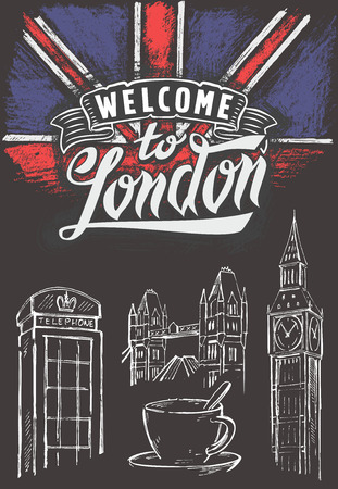 bandera de gran bretaña: vector de tiza gran bandera de Gran Bretaña y Londres