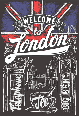 vector chalk great britain flag and london