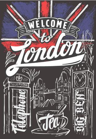 vector krijt grote vlag-brittannië en Londen Stock Illustratie