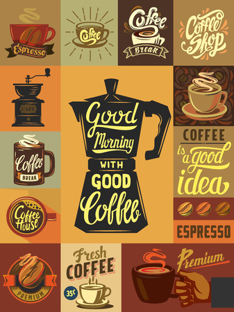 vector coffee shop and coffee set poster Фото со стока - 55851723