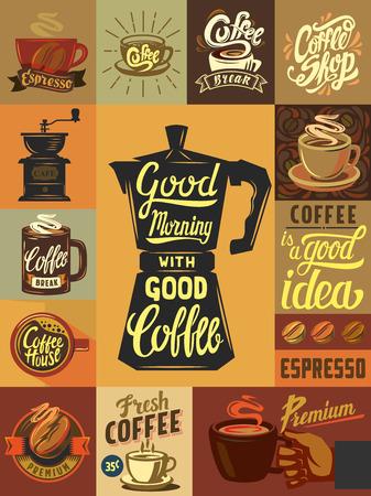 Wektor kawiarni i plakat kawa Ilustracje wektorowe