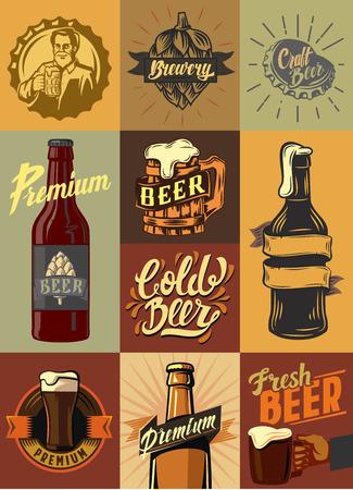 vector beer shop and beer set poster