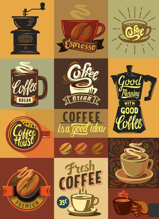 vector coffee shop and coffee set poster