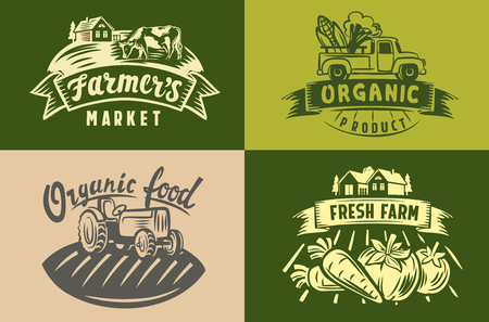 vector image of farm labels and landscape