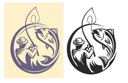 vector black fisherman icon on white background 免版税图像 - 55851972