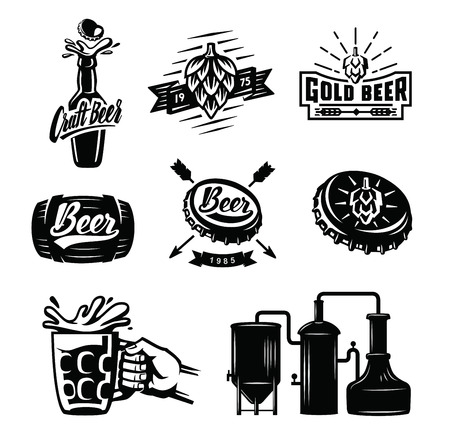 Set of vector beer badges on white background