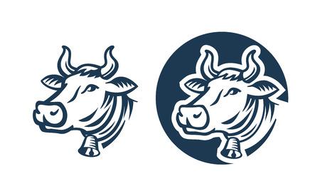 vacas lecheras: vaca vector de la cabeza de color sobre fondo blanco