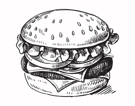 vector black hand drawn hamburger on white background Vettoriali