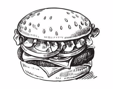 vettore mano nera hamburger disegnato su sfondo bianco