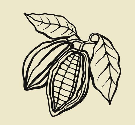 vector zwarte cacaobonen op beige achtergrond