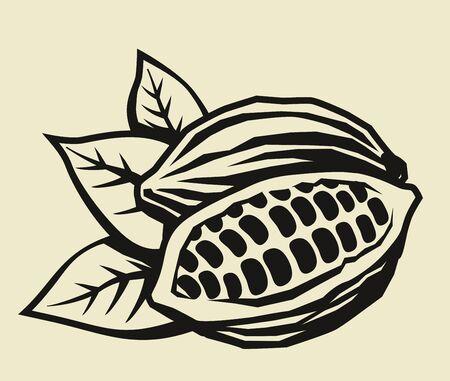 vector black cacao beans on beige background Vektoros illusztráció