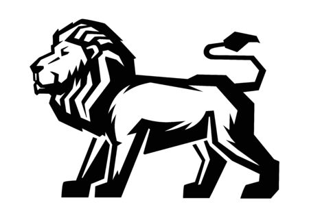 agility: black Lion icon on white background
