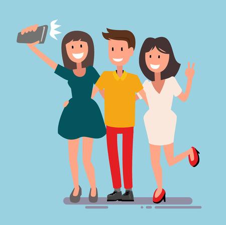 2 つの美しい女の子と男を撮影 Selfie  イラスト・ベクター素材