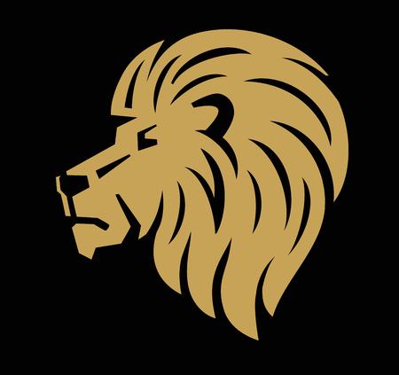 creative strength: Lion head icon on black background