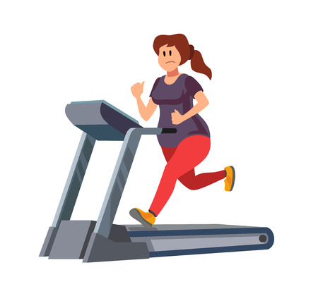 out of body: color vector young woman running on treadmill