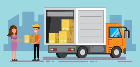 vector levering man lossen levering auto dozen Stock Illustratie